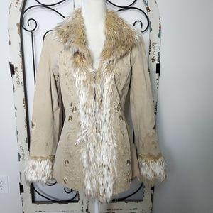 Embroidered leather fur trimmed coat medium
